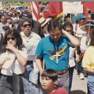 ON THE FIRST ANNIVERSARY OF CESAR\'S DEATH THE STRIKERS TOOK OFF AGAIN ON THE SAME ROUTE TO SACRAMENTO AS THE FIRST MARCHERS DID IN 1966. LINDA CHAVEZ, ARTURO RODRIGUEZ, DOLORES HUERTA AND BEHIND IS MARCH CAPTAIN ROBERTO BUSTOS.