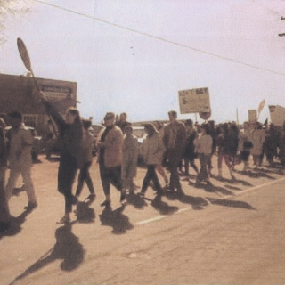 THE MARCH BEGINS WITH THE FIRST STEPS IN FRONT OF THE NFWA OFFICE IN DELANO CA.