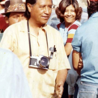 Cesar Chavez and daughter, Eloise, on picket line.