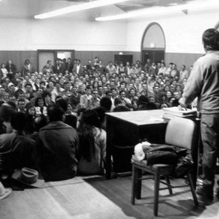 Cesar Chavez at first UFW strike meeting about Egger-Ghio in 1970.