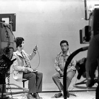 Cesar Chavez media interview in San Jose 1975.