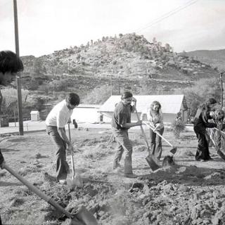 Cesar Chavez with weekend volunteers at La Paz 1978.
