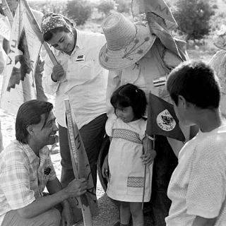 Cesar Chavez visits with Coachella striker 1973.