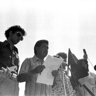 Cesar Chavez at Naji Dafulla Funeral press conference 1973.