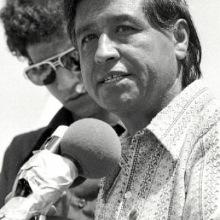 Cesar Chavez at Naji Dafullah Funeral press conference in Delano 1973.