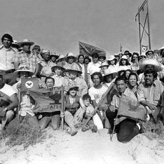 A very rare group photo with Cesar Chavez and the Coachella strikers 1973.