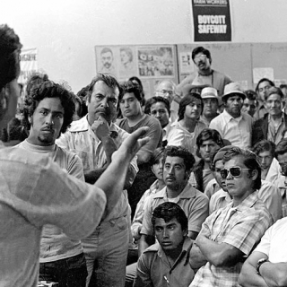 Cesar Chavez speaks at the UFW Salinas field office in 1974.