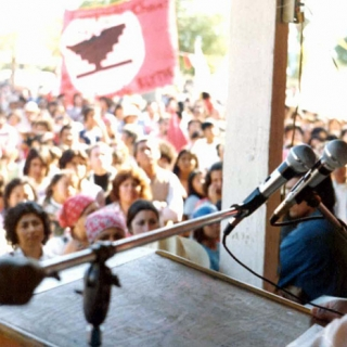 Cesar Chavez at UFW rally in Coachella CA 1975