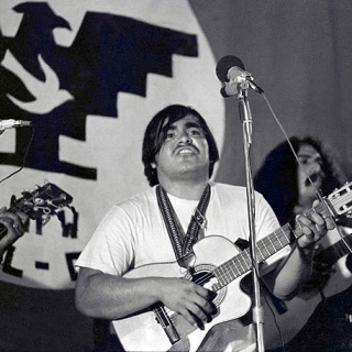 Chunky Sanchez performs at Mecha-UFW rally in Indio CA 1973