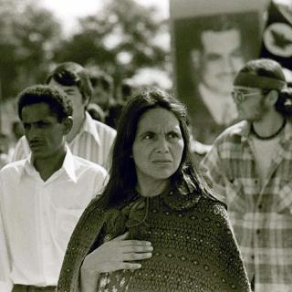 Dolores Huerta in funeral march for Naji Dafullah 1973