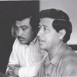 Marcos Munoz & Cesar Chavez at Boston Area Boycott Meeting