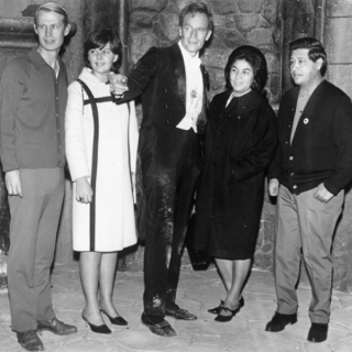 CHARLTON HESTON WELCOMING HELEN & CESAR CHAVEZ AND BONNIE & LEROY CHATFIELD TO HOLLYWOOD MOVIE SET