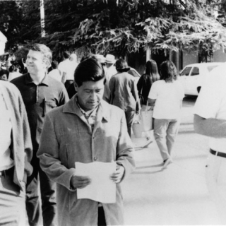 IN UFW DEMONSTRATION WITH CESAR CHAVEZ & JIM DRAKE