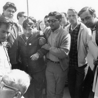 MANEUVERING CESAR CHAVEZ WITH GILBERT FLORES & RICHARD CHAVEZ AFTER THE FAST FOR NONVIOLENCE