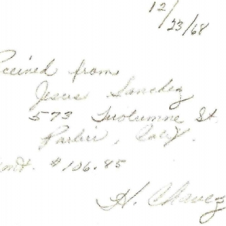 Receipt For Dues / Signed by Helen Chavez / December 1968