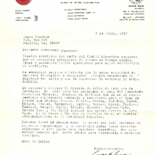 Cesar Chavez Letter / Clarifying Mr. Mendoza As Sole Organizer In Fresno Region / July 1967