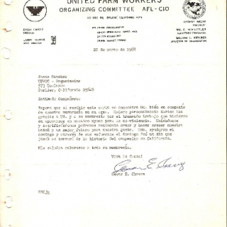 Thank You Letter From Cesar Chavez / To Jesus Sanchez Troncoso For Organizing Efforts / March 1968