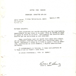 Cesar Chavez Letter Inviting Organizers To Meeting / August 1969