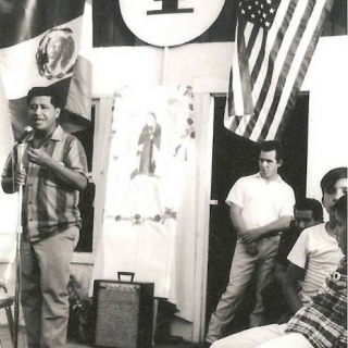 Cesar Chavez at UFW Hiring Hall in Parlier CA / August 1967