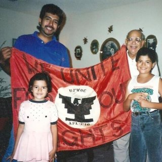 Son, Juan, with Lydia & AJ with gramps. Parlier / 1991
