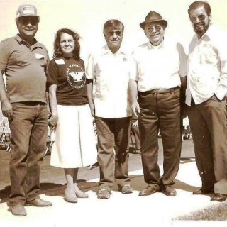 Richard Chavez, Dolores Huerta, Cesar Chavez, Don Jesus, & Arcadio Viveros at dedication of farmworker housing. / c.1992