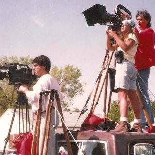 Gregory Nava films funeral of Cesar Chavez. / April 1993