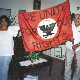 Sara & Jesus display handcrafted banner. / c.1990