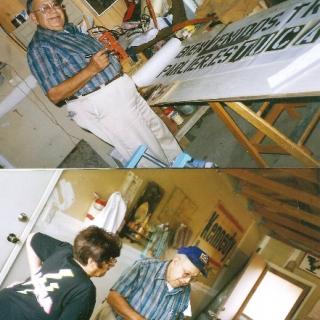 Don Jesus prepares banners / Parlier / 1994